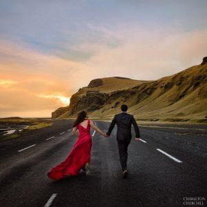 creative iceland wedding photography during the sunset