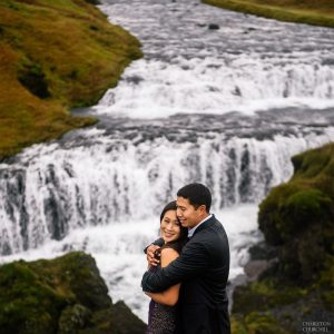 skogafoss waterfall trailhead on a hike with an engaged couple to marry