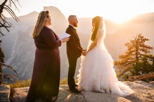 wedding at yosemite's glacier point during sunrise
