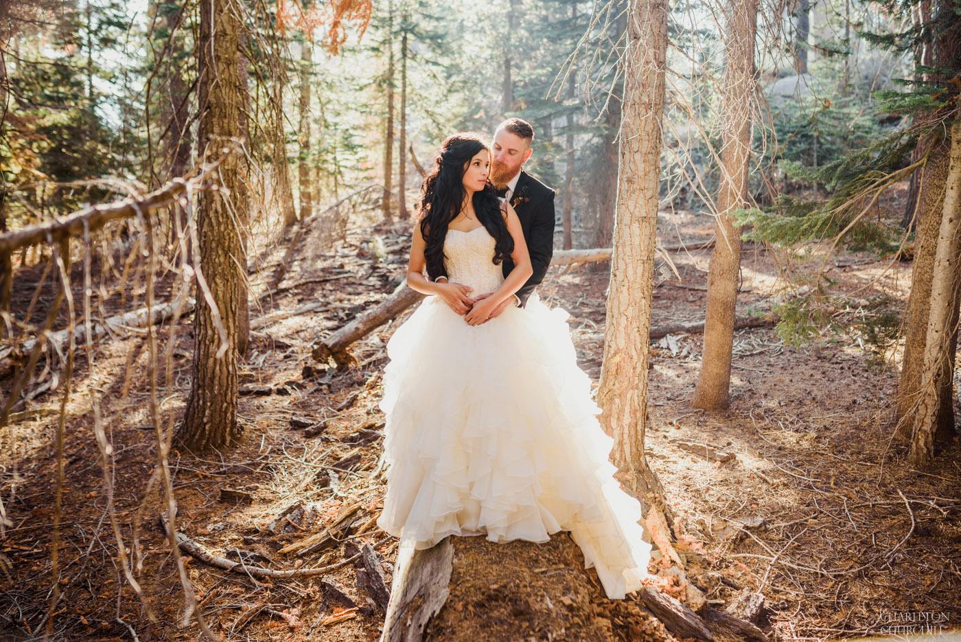 creative forest wedding photos