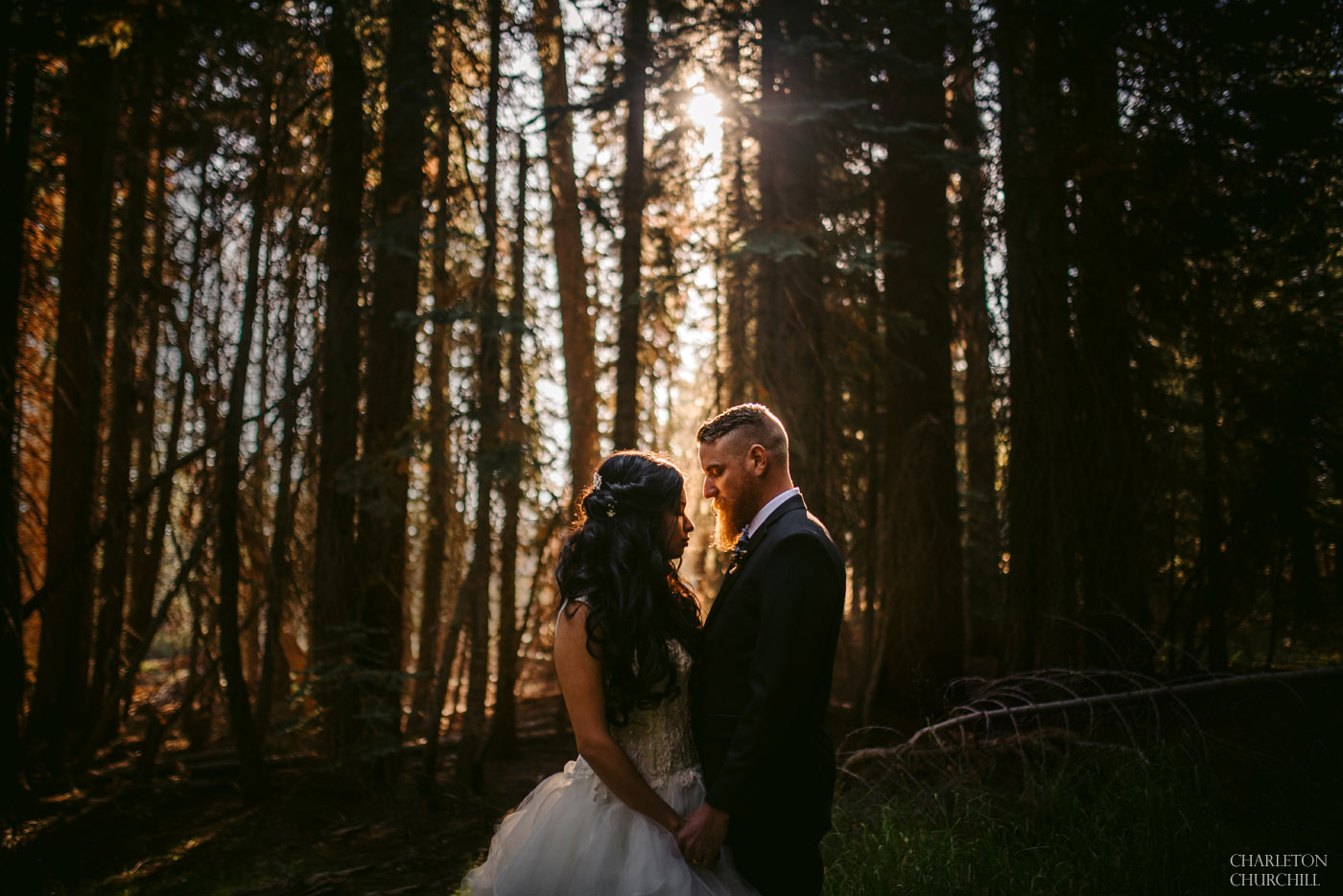 moody wedding photos in forest of yosemite