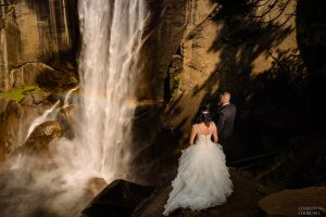 adventure wedding photos at Yosemite's vernal falls