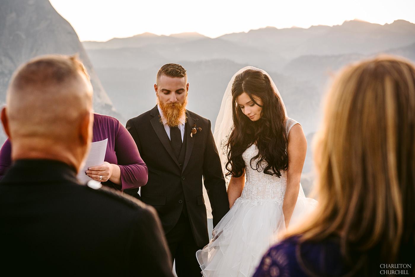 bride and groom at glacier point wedding