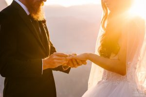 exchanging rings at glacier point trail