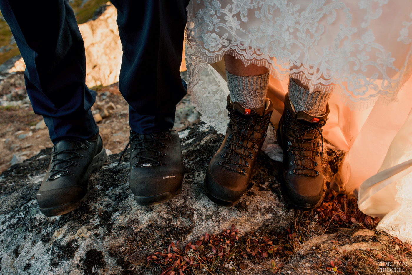 adventure bride and groom wearing crispi hiking boots in Norway