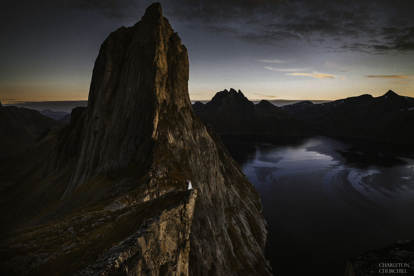 the most epic norway wedding photography with adventurous couple in the senja norway mountains