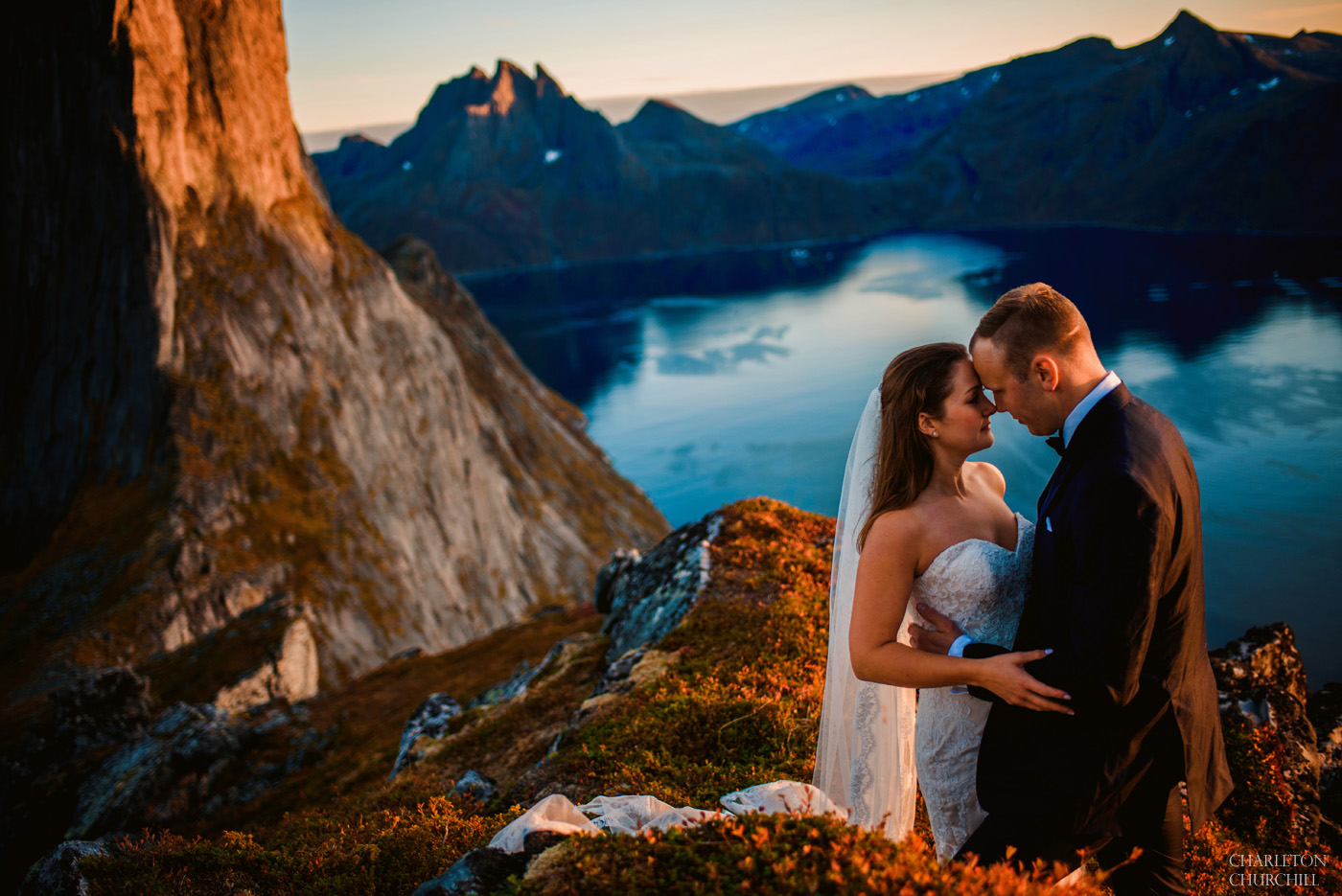 beautiful sunset Norway wedding photos