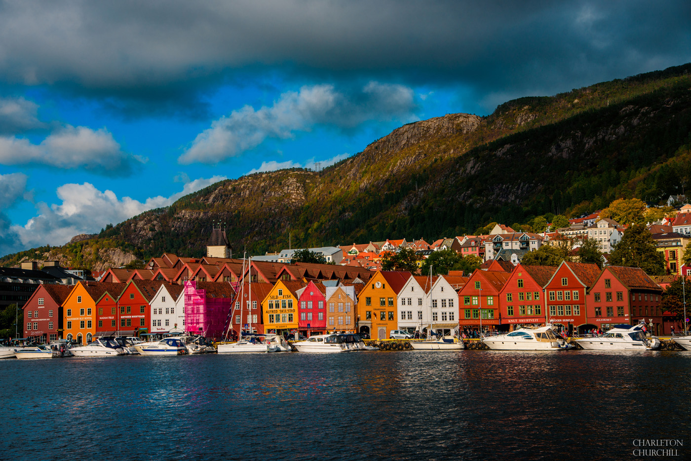 flying into Bergen, Norway to start the wedding adventure downtown with colorful houses and boats
