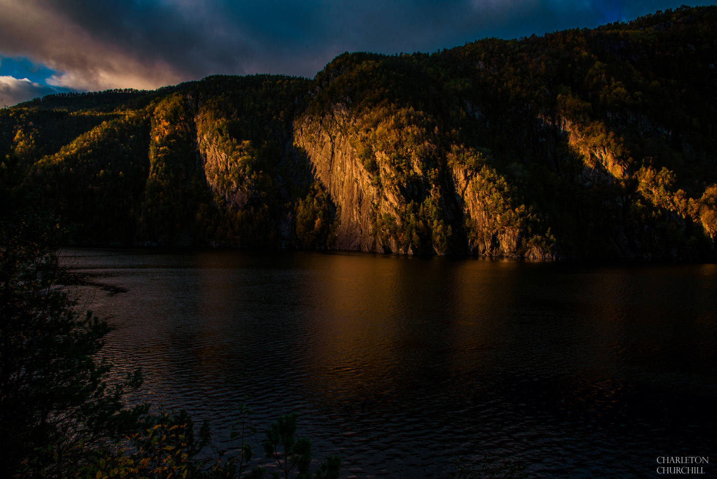 norway beautiful landscape photos when the sun is going down in the fall season