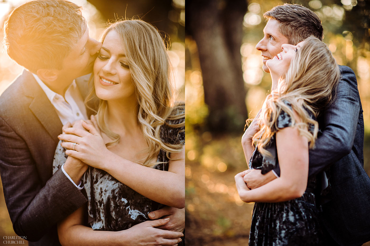 natural wedding photographer capturing sunset photos of couple in the woods
