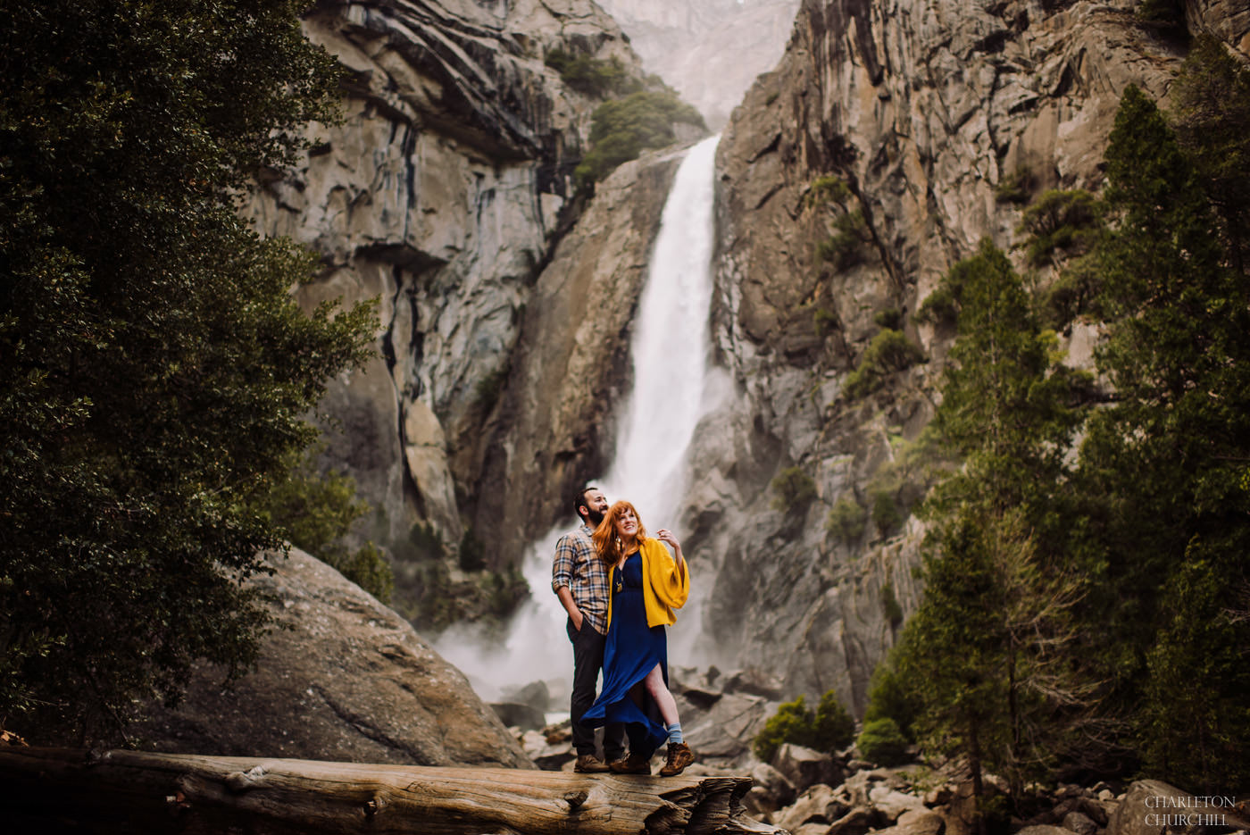 yosemite waterfalls engagement photos at national park woodsy and rocky landscape