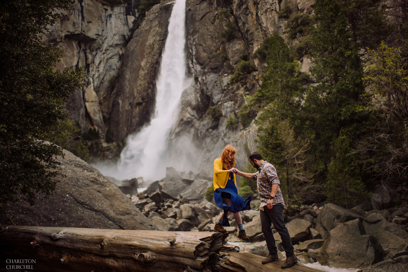 engaged couple adventure photo session