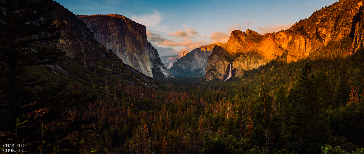 Yosemite ansel adams type photo bridal veil falls and valley from near tunnel view at sunset