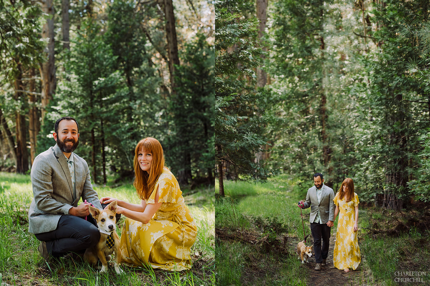 forest engagement with couple and their dog yellow boho dress and classy outfit