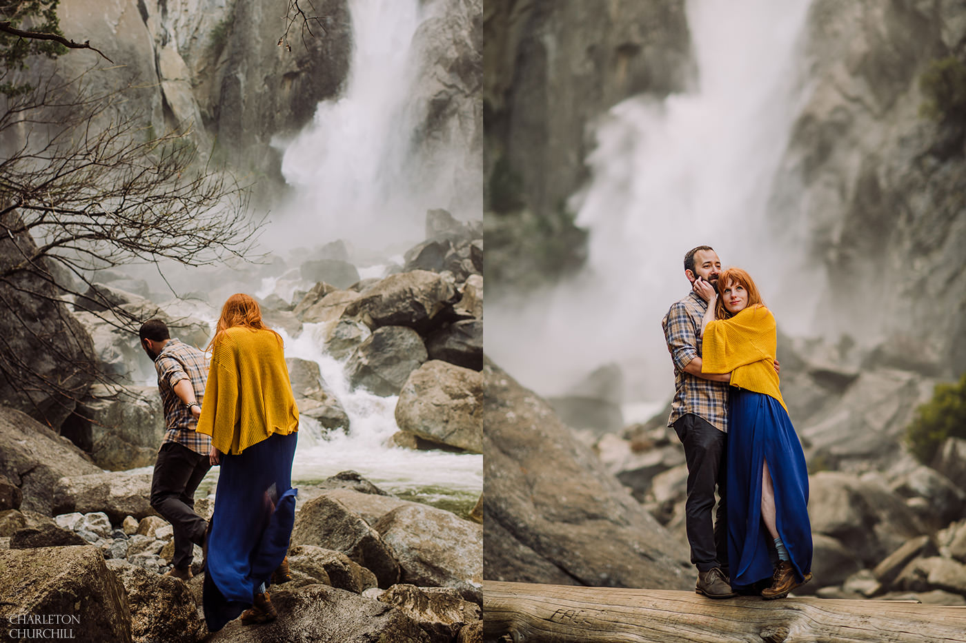 yosemite falls engaged couple photos boho yellow and blue with plaid