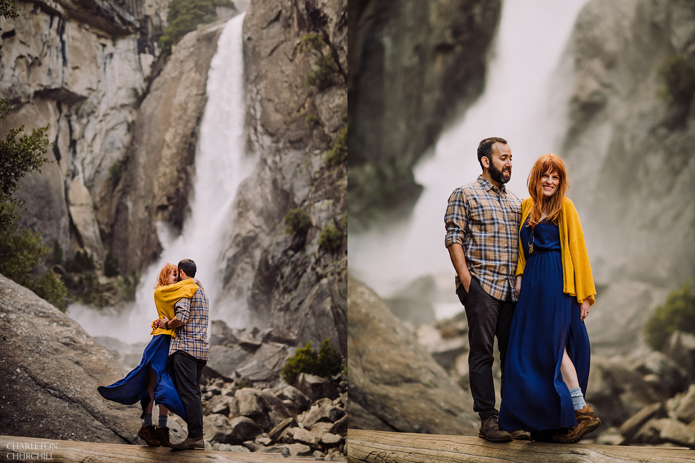 waterfalls at yosemite for an adventure engagement session wearing boho style blue and yellow