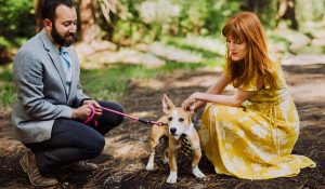 engagement photo with dog in Yosemite