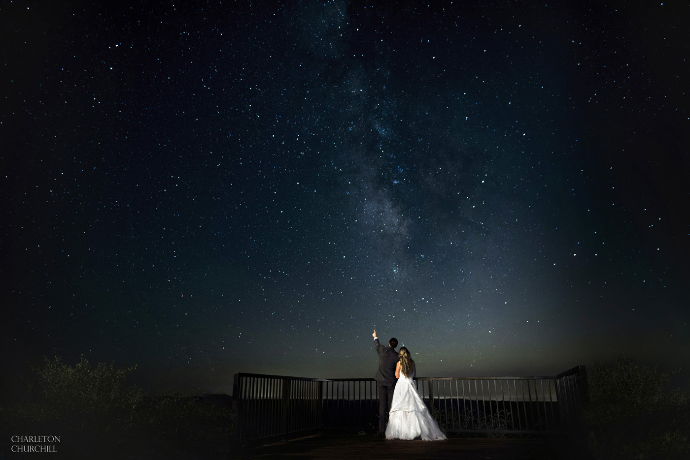 wedding star photo with couple in northern california near the Hideout kirkwood