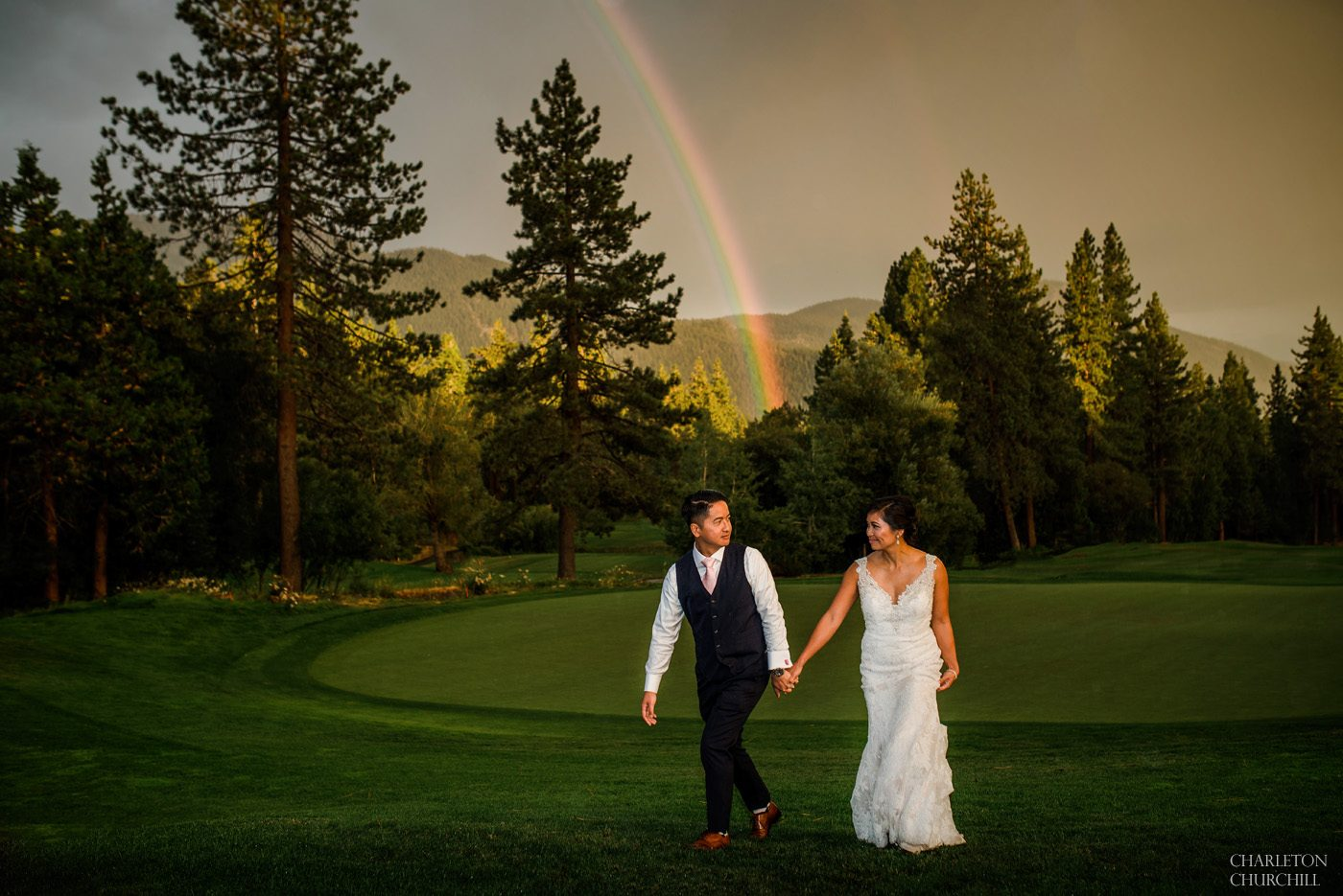 The Chateau incline village wedding venue with couple in tahoe during rainbow north lake