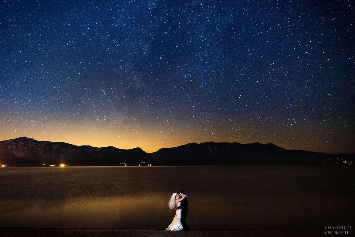 edgewood tahoe resort wedding photo of couple under the stars on the beach