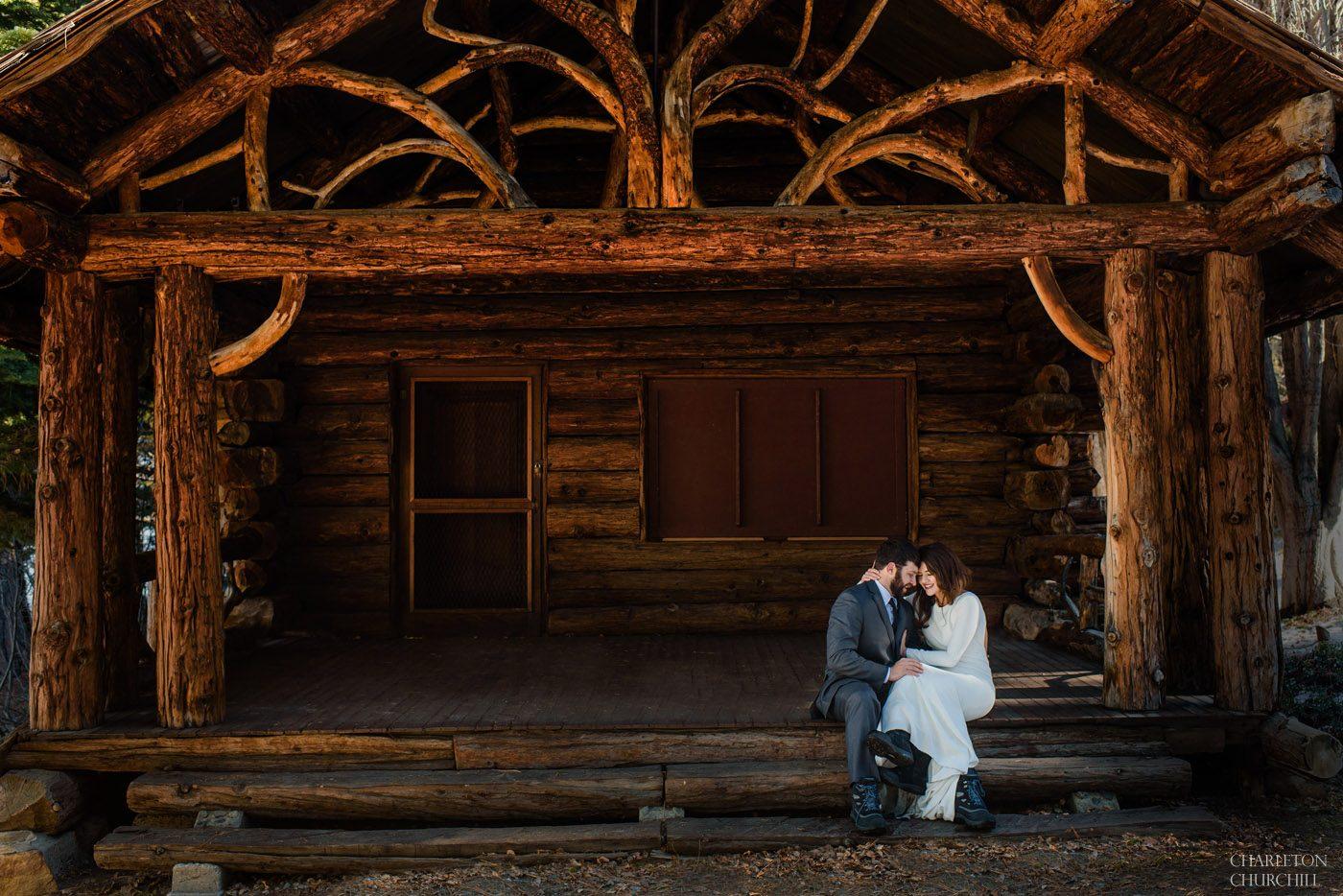 vahalla tahoe wedding couple on cabin in the woods on beach