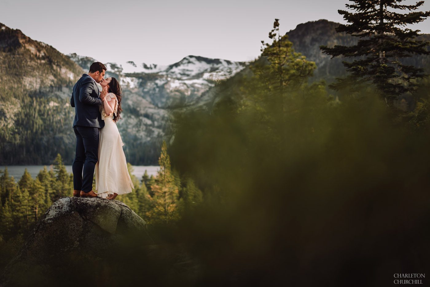a glimpse of a tahoe wedding couple photographed in north shore