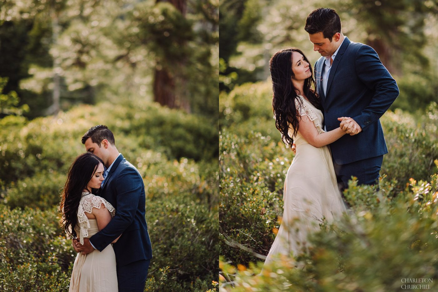 romantic moody boho style wedding photos for engaged couples in the wilderness