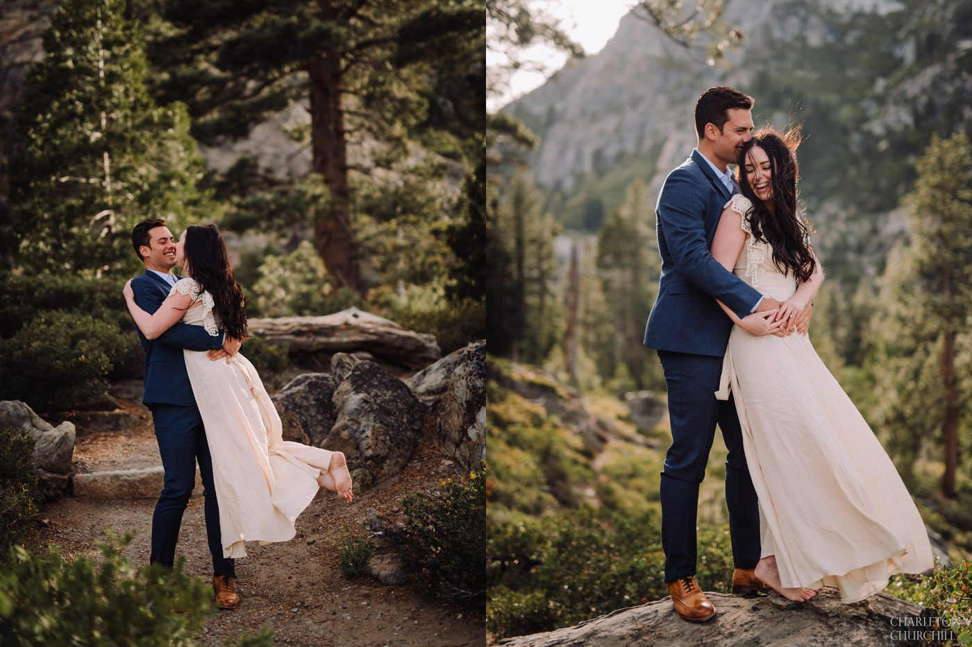 fun natural candid engagement photos in the mountains adventure style with trees and dirt