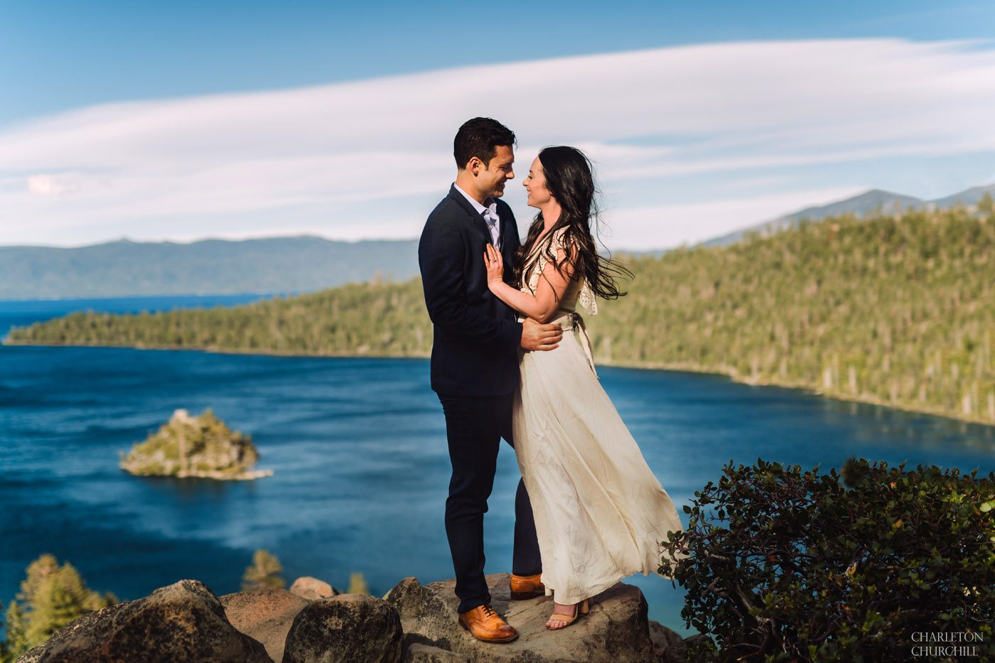 epic lake tahoe wedding photography over emerald bay on a sunday day with boho style and a blue lake