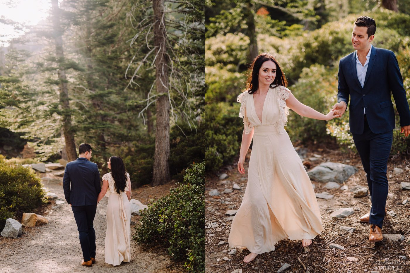 whispy natural ligth of bride and groom in the tahoe forest
