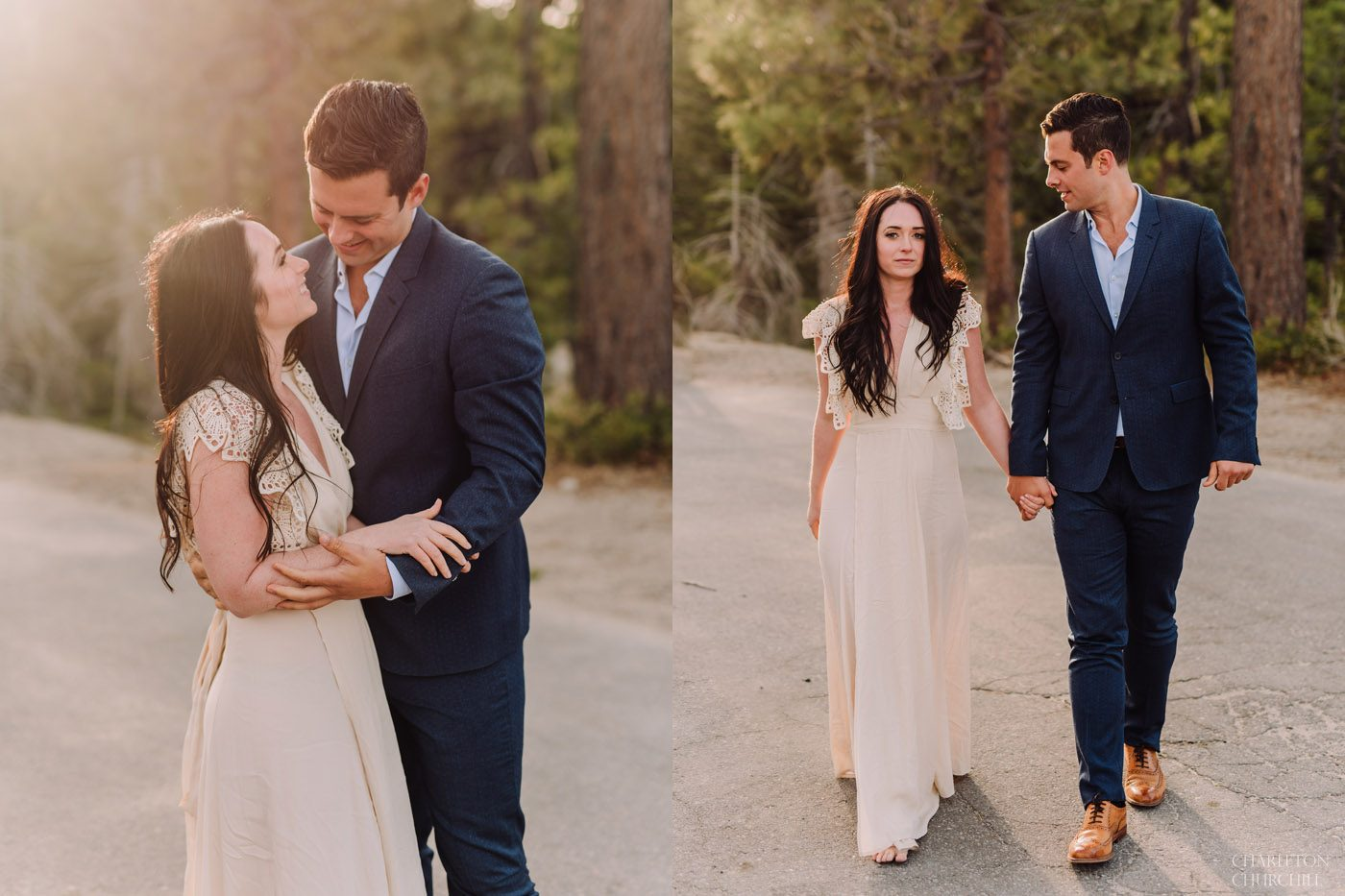 sunset engagement photos in lake tahoe styled in boho design