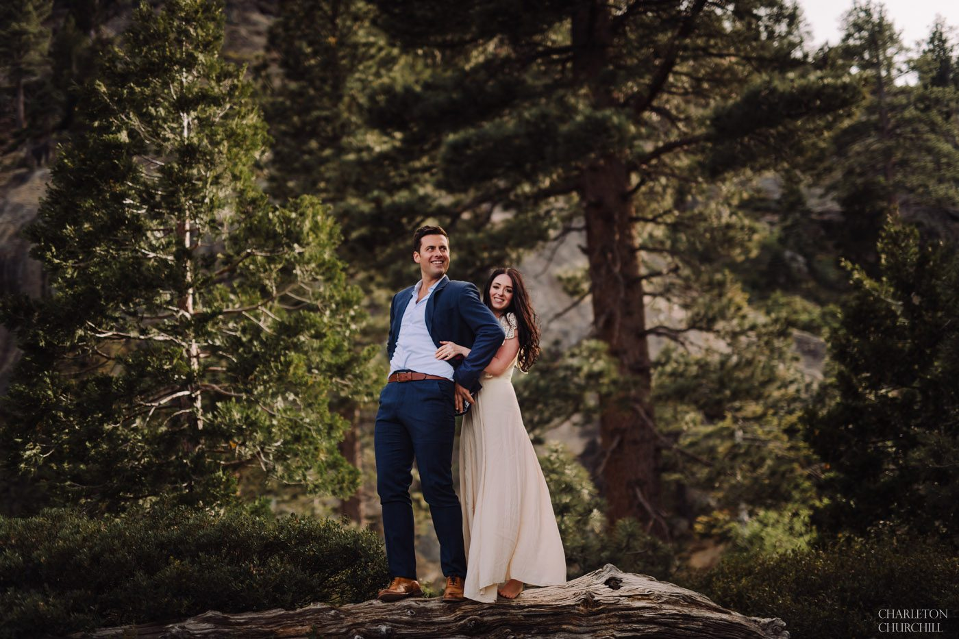 fun engagement photos in the woods with styled couple