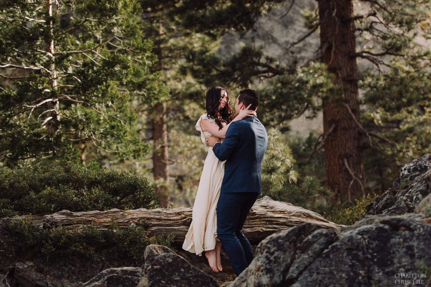 lovely whimsical couple photos in the wilderness el dorado county of tahoe woods