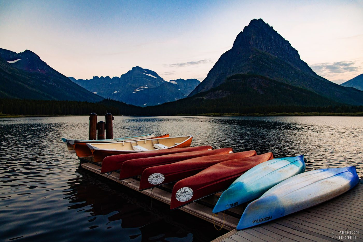 many glaciers hotel summer August with canoes