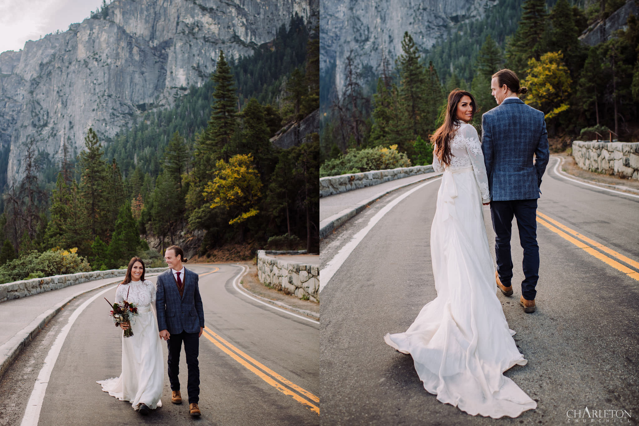 wedding couple romantic walk holding hands down yosemite valley road during the fall season in wedding dress with bouquet