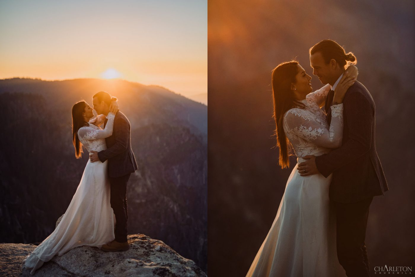 taft point elopement ceremony during sunset over the view of mountains
