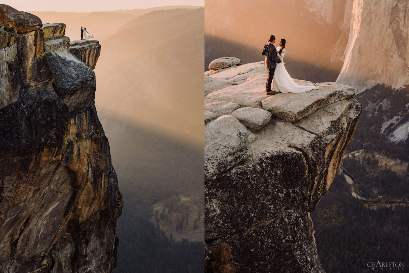 taft point epic wedding eloping photos of couple on the cliff during sunset
